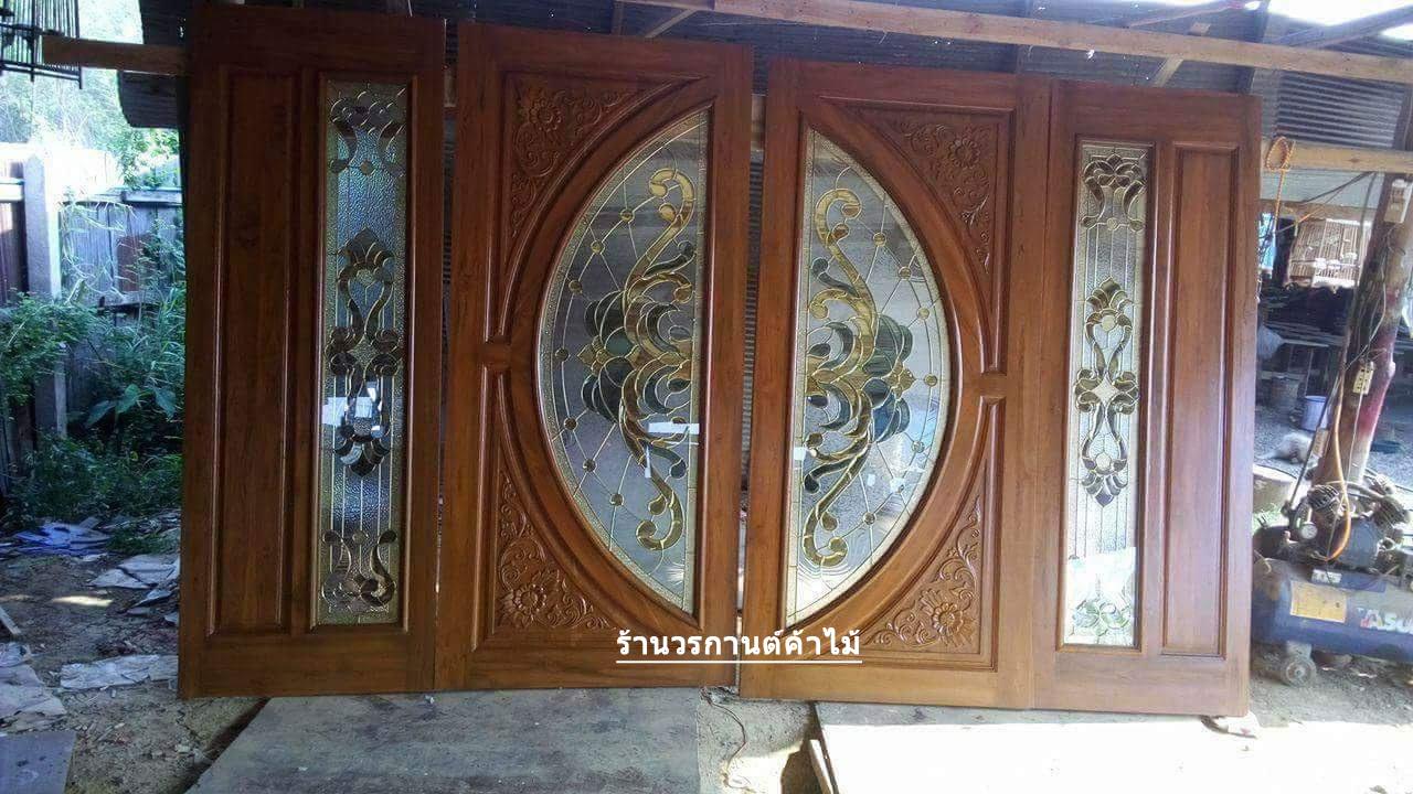 ประตูไม้สักกระจกนิรภัย บานเฟี้ยม ชุด4ชิ้น รหัส AAA53