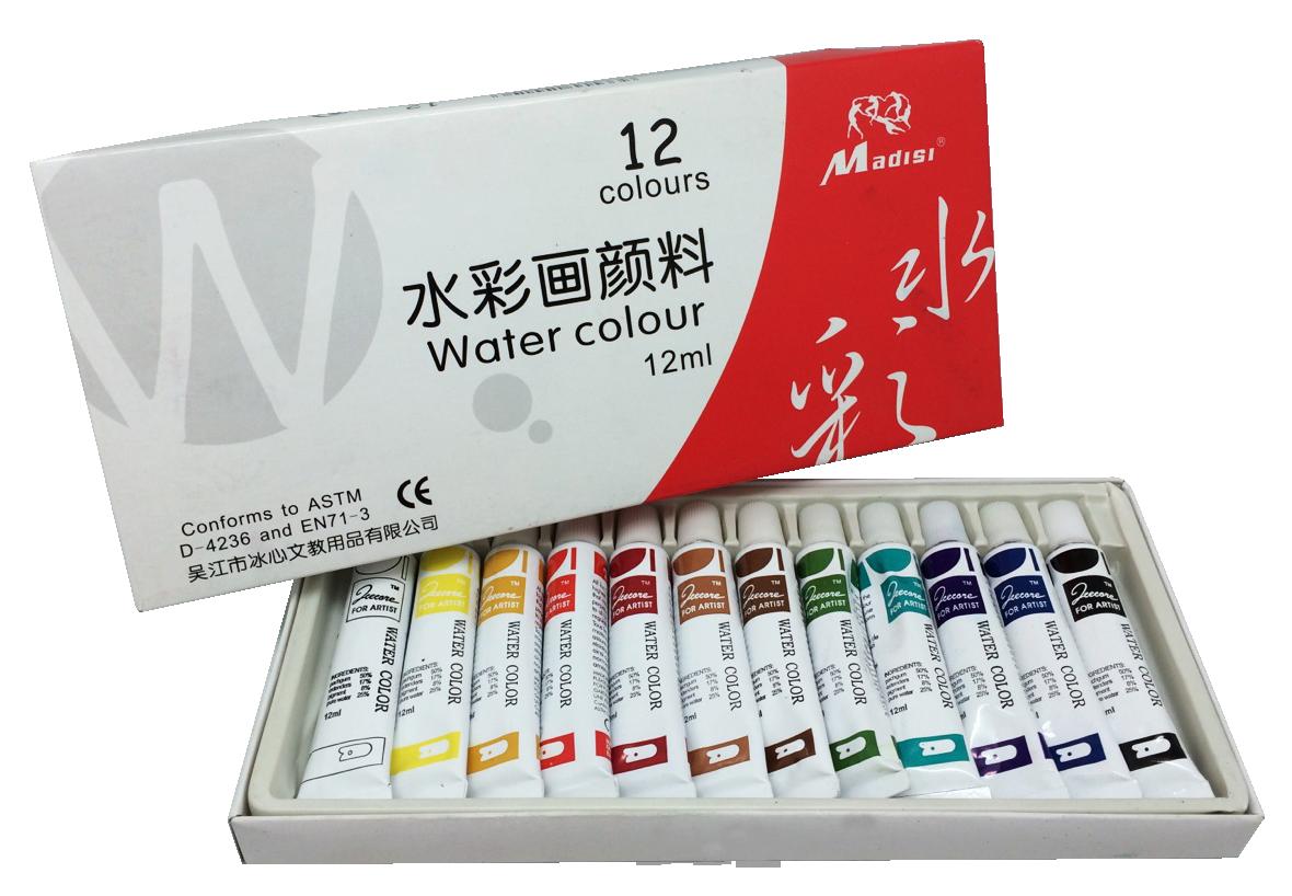 ชุดสีน้ำ 12 ML. 12 สี (Watercolors 12 ml. 12 Colors)
