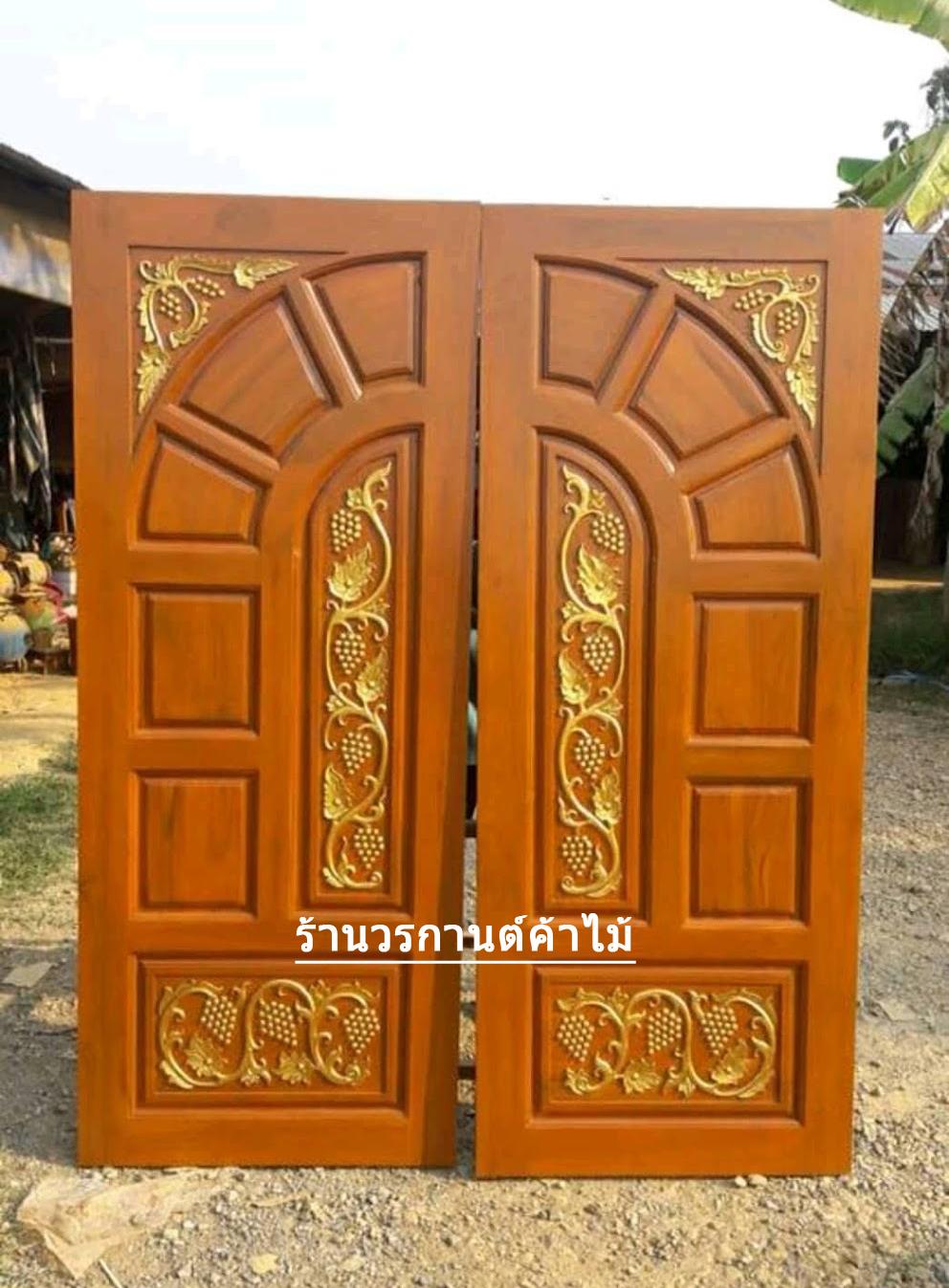 ประตูไม้สักบานคู่ แกะองุ่น รหัส BB19