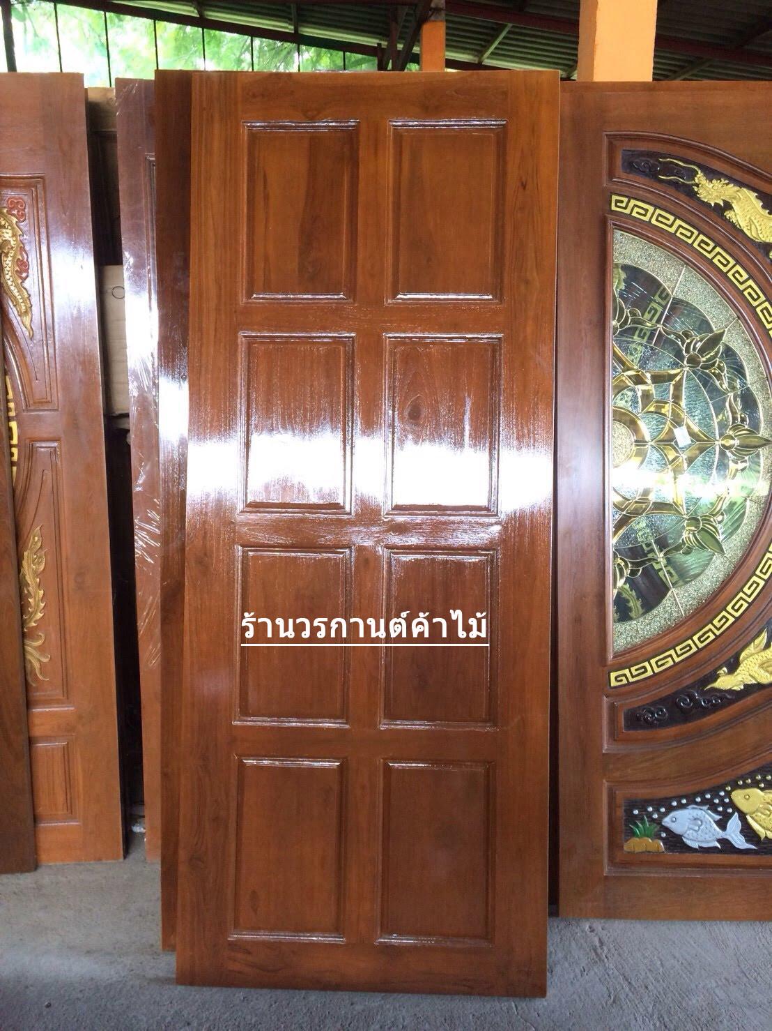 ประตูไม้สักบานเดี่ยว 8ฟัก เกรดA, B+ รหัส C73