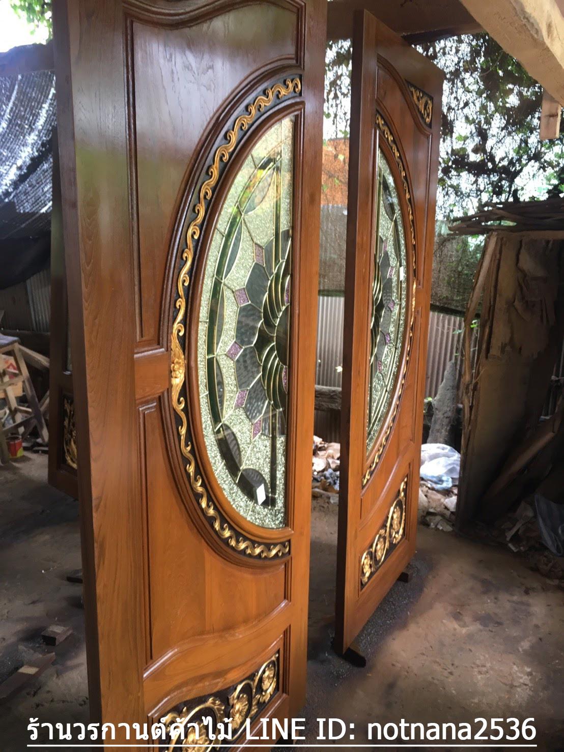 ประตูไม้สักกระจกนิรภัย เกรดA รหัส A106