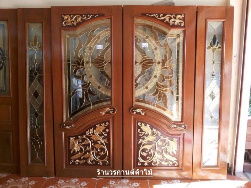 ประตูไม้สักกระจกนิรภัย ปีกนก ชุด 4ชิ้น เกรดA รหัส AAA46