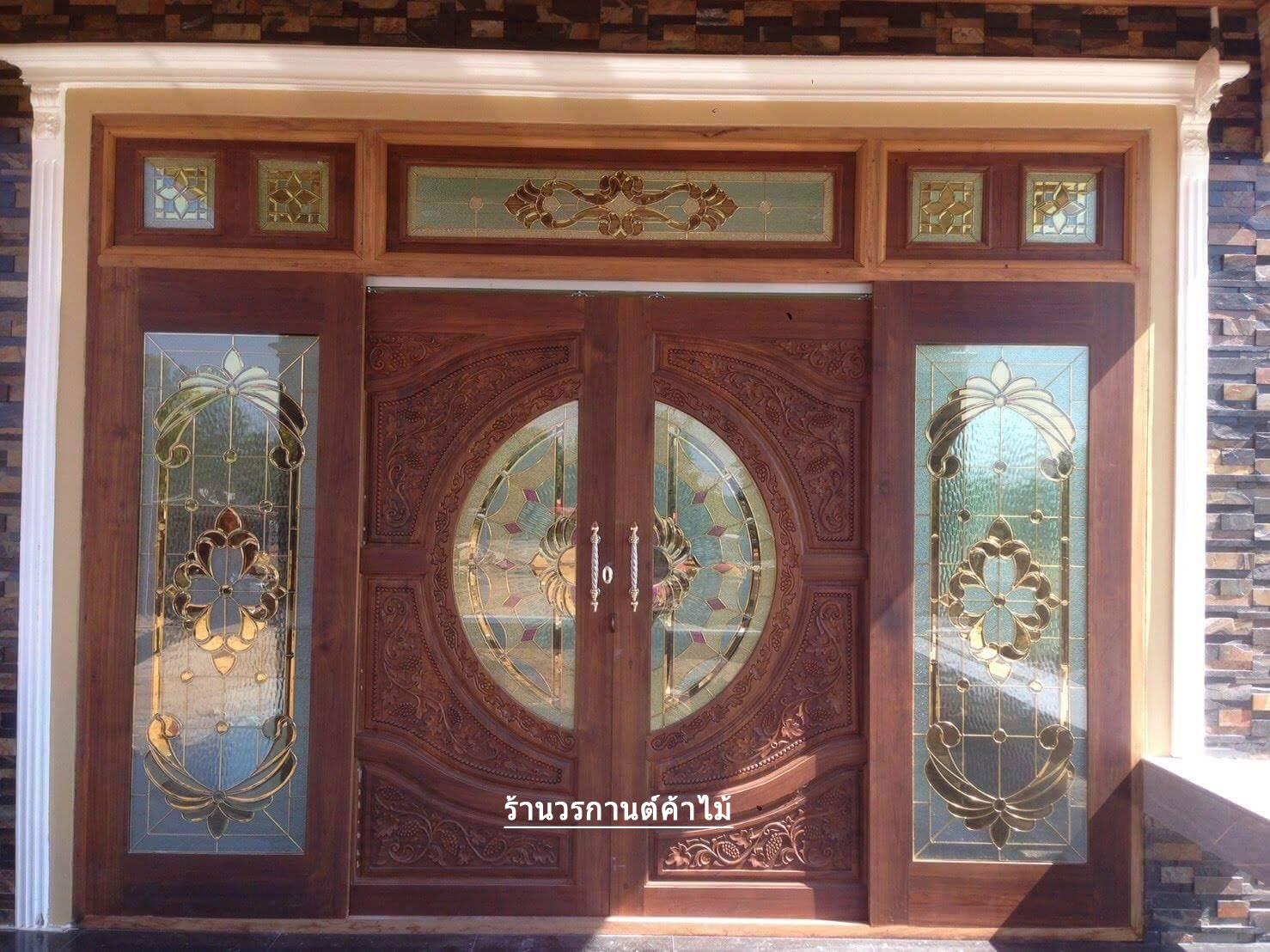ประตูไม้สักกระจกนิรภัย บานเลื่อน ชุด7ชิ้น รหัส AAA102