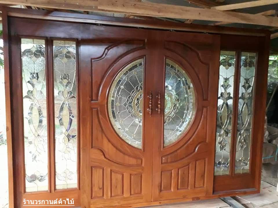 ประตูไม้สักกระจกนิรภัย บานเลื่อน ชุด4 ชิ้น รหัสAAA11