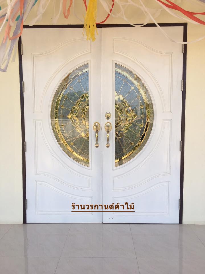 ประตูไม้สักกระจกนิรภัย สีขาว เกรด A รหัส A12