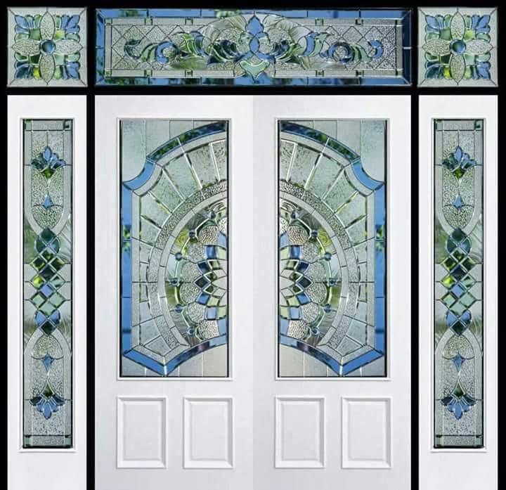 กระจกนิรภัยสเตนกลาส ประตูไม้สัก รหัส G47
