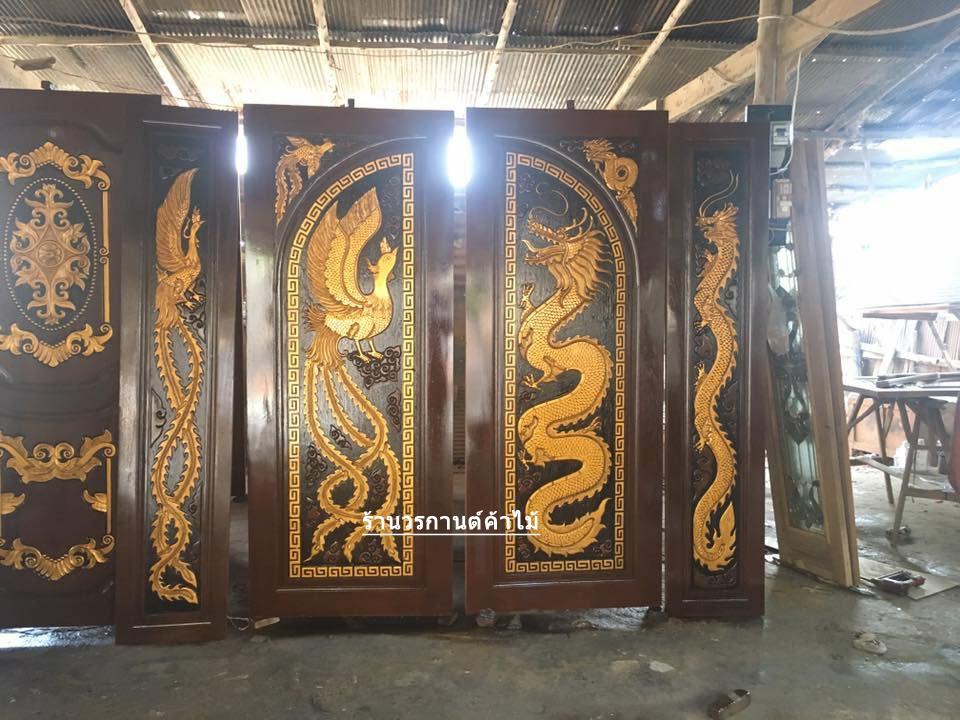 ประตูไม้สักบานเฟี้ยมแกะหงส์มังกร ชุด4ชิ้น รหัส AAA59