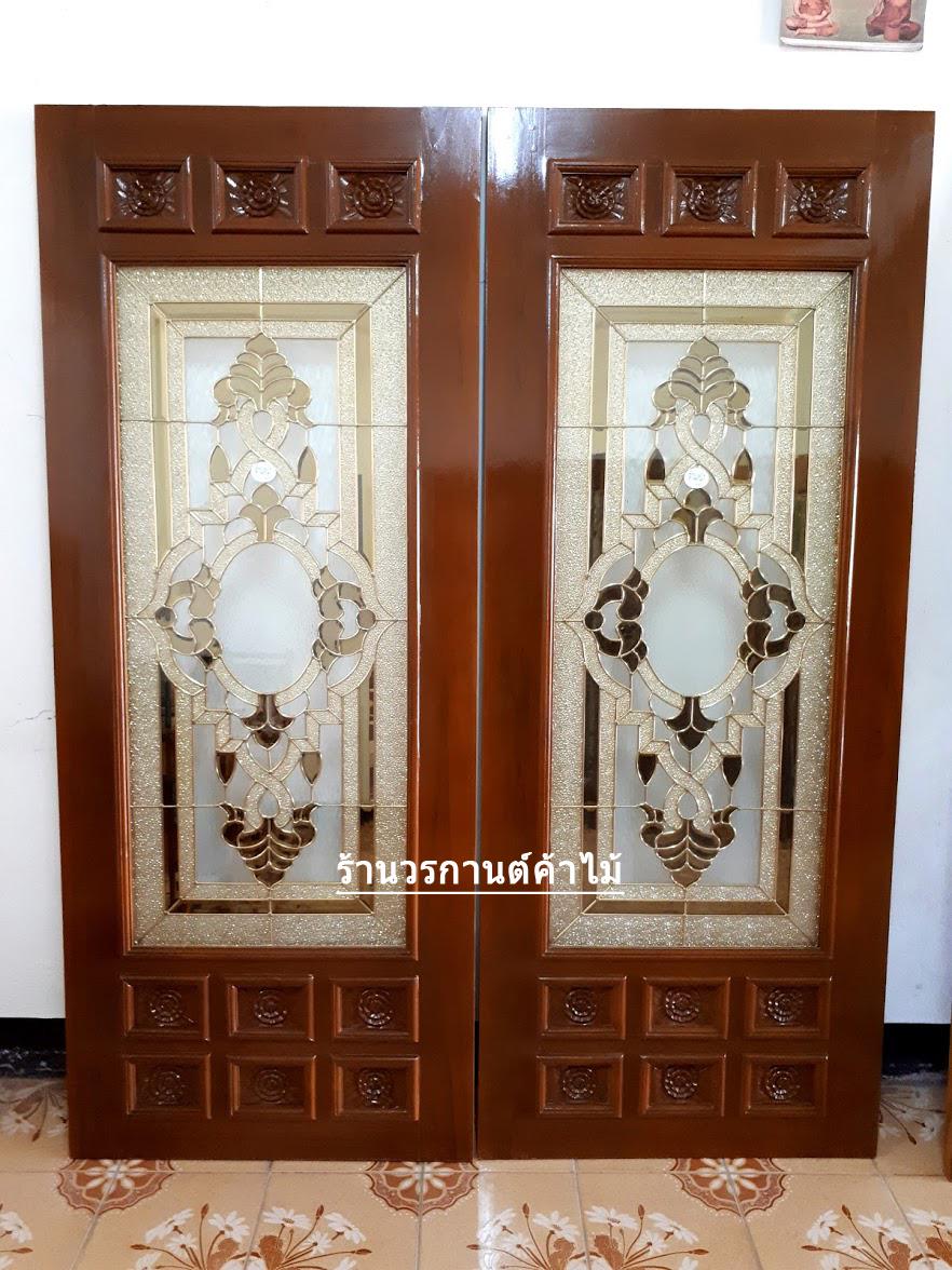 ประตูไม้สักกระจกนิรภัย รหัส A02