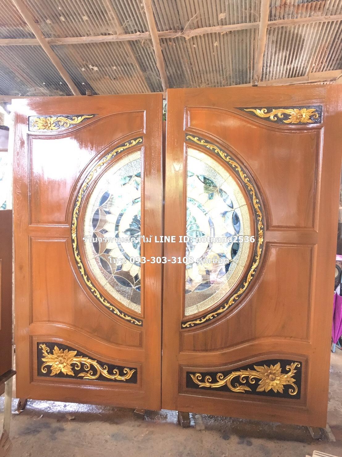 ประตูไม้สักกระจกนิรภัย รหัส AAA156