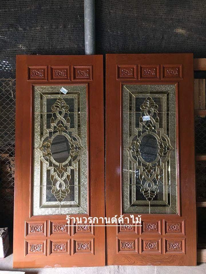 ประตูไม้สักกระจกนิรภัย ครึ่งบาน เกรดA รหัส A81