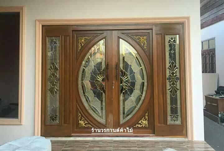 ประตูไม้สักกระจกนิรภัยบานเลื่อน ชุด4ชิ้น รหัส AAA19