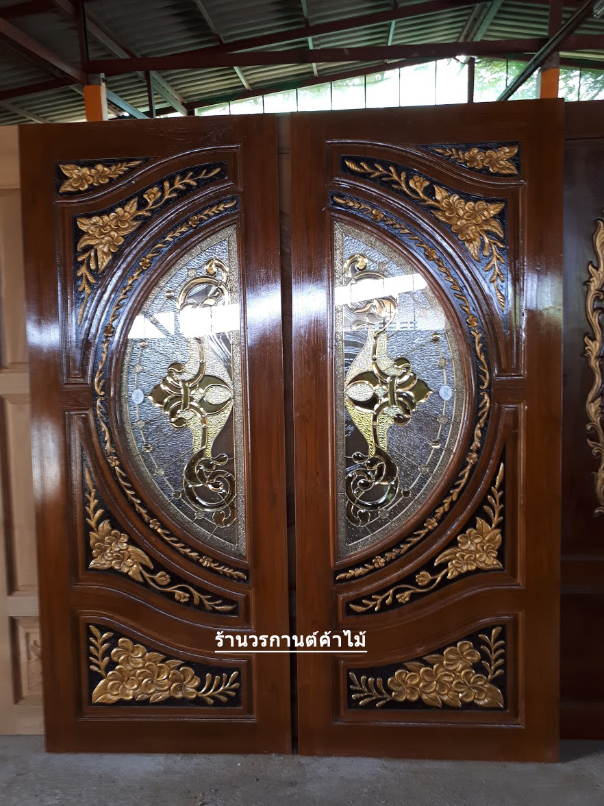 ประตูไม้สักกระจกนิรภัย แกะดอกไม้ เกรด A รหัส A26
