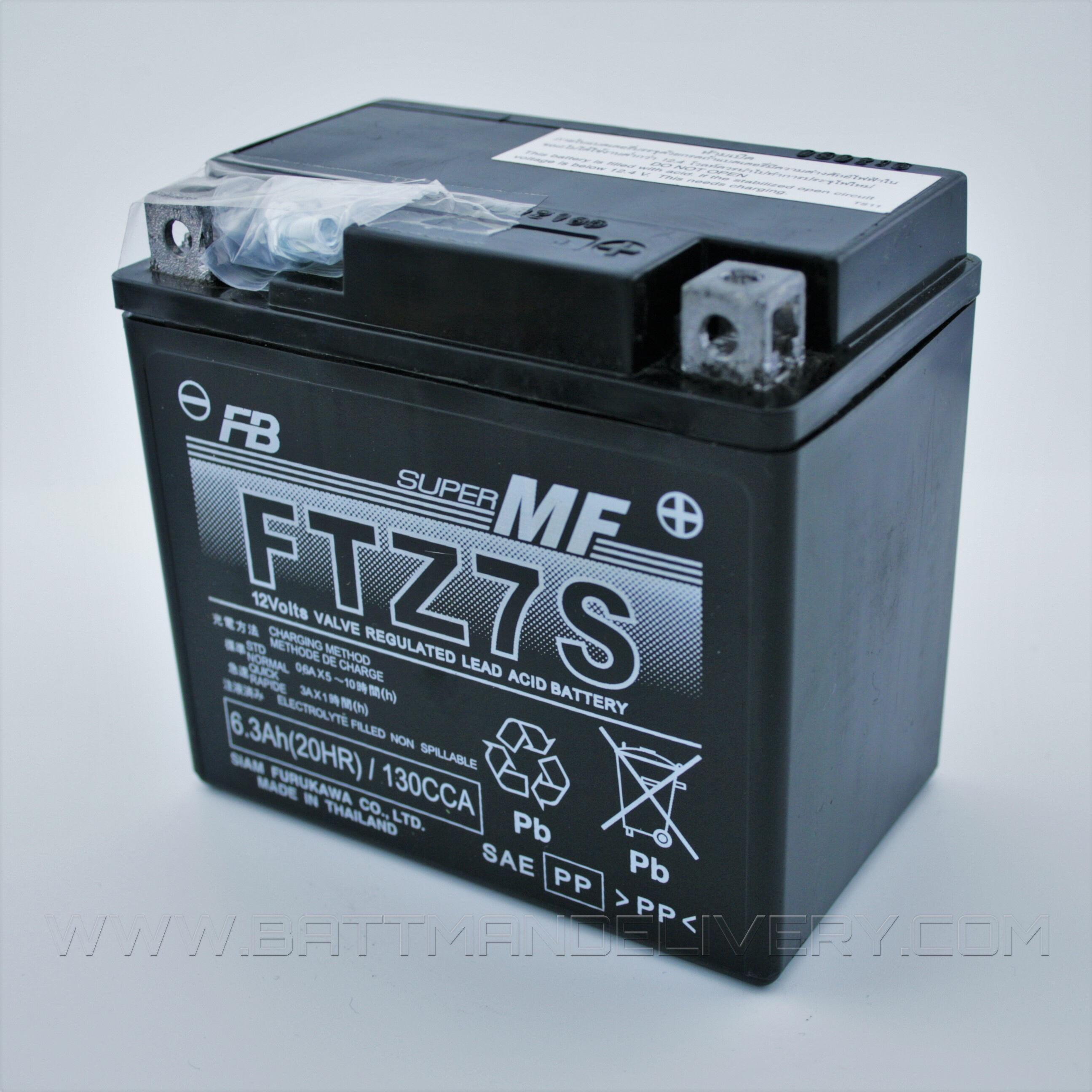แบตแห้งพร้อมใช้ คุณภาพสูง ยี่ห้อ FB รุ่น FTZ7s-mf (12V 6AH) สำหรับรถรุ่น CBR150R,Click125i,Moove,PCX125,PCX150,Zoomer-x,Filano,Fiore,N-Max,Tricity