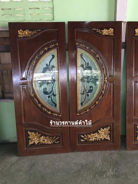 ประตูไม้สักกระจกนิรภัย แกะดอกไม้ เกรดA รหัส A74