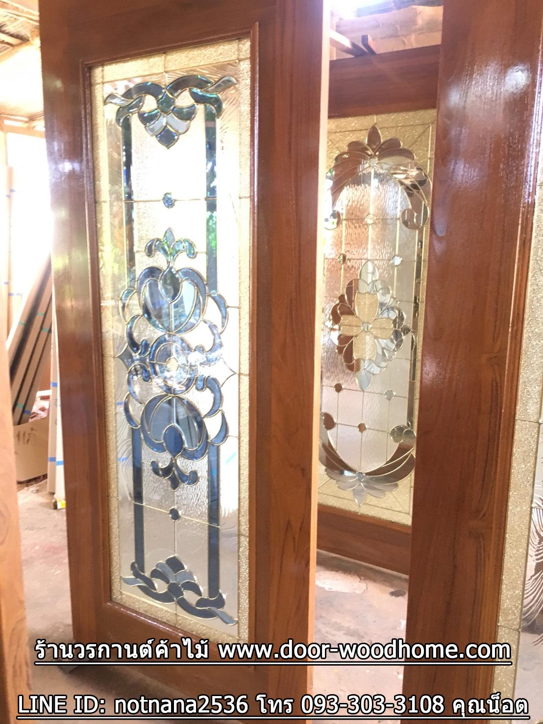 ประตูไม้สักกระจกนิรภัยเต็มบาน เกรดA รหัส A152