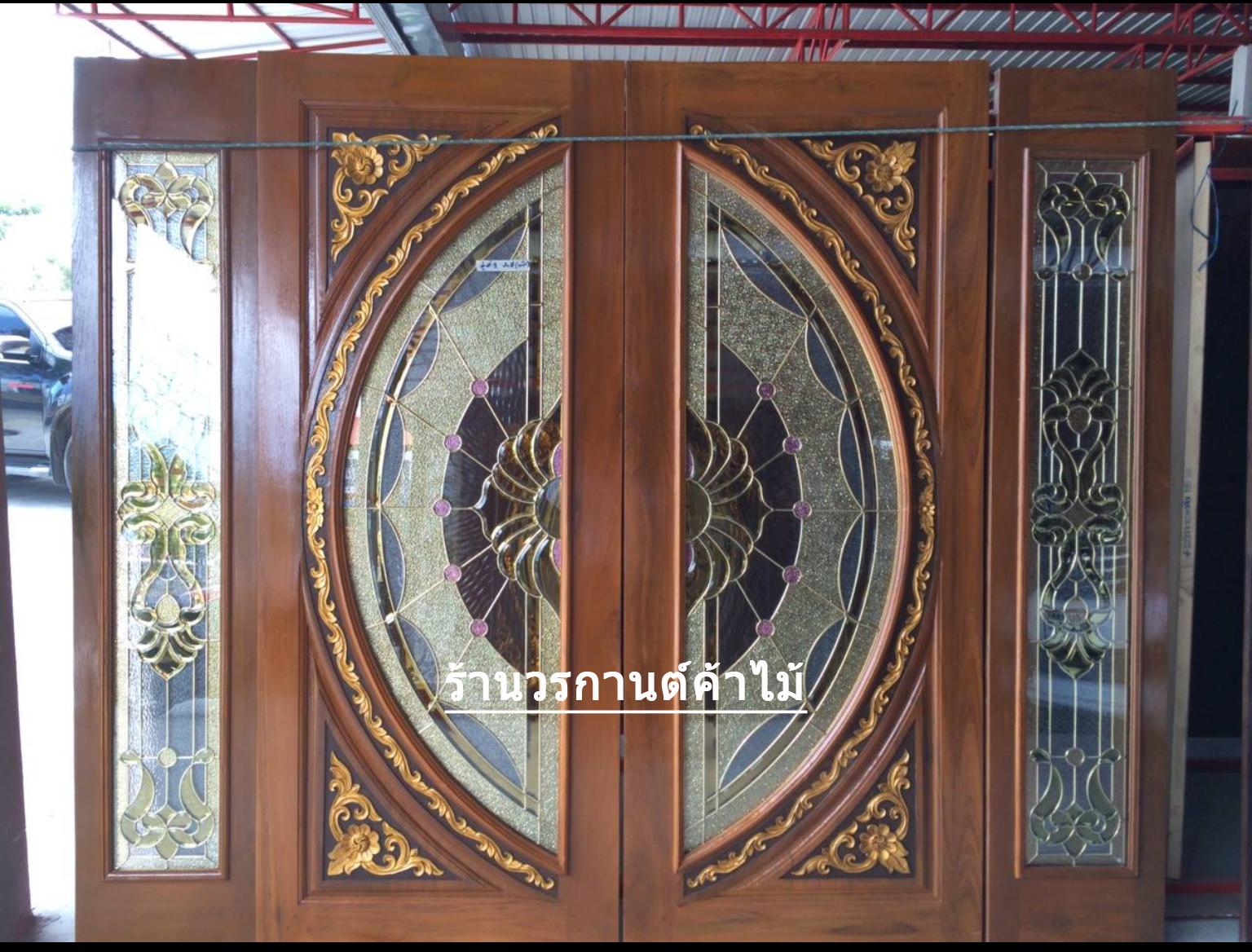 ประตูไม้สักกระจกนิรภัย บานเลื่อน ชุด4ชิ้น รหัส AAA109