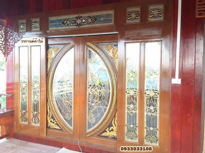 ประตูไม้สักกระจกนิรภัยบานเลื่อนแกะมังกรหงส์ชุด7ชิ้น รหัส AAA03