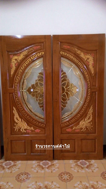 ประตูไม้สักกระจกนิรภัย สีสักทอง เกรดA รหัส A93