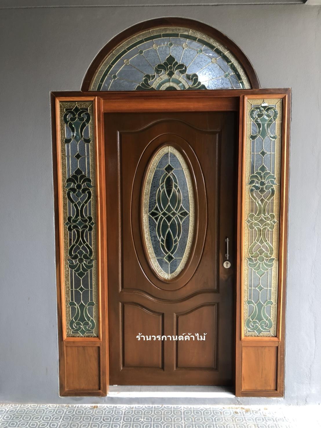 ประตูไม้สักกระจกนิรภัย ชุด4ชิ้น รหัสAAA111