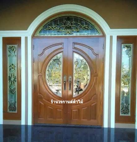 ประตูไม้สักกระจกนิรภัย ชุด5ชิ้น บานเปิด-ปิด รหัส AAA18
