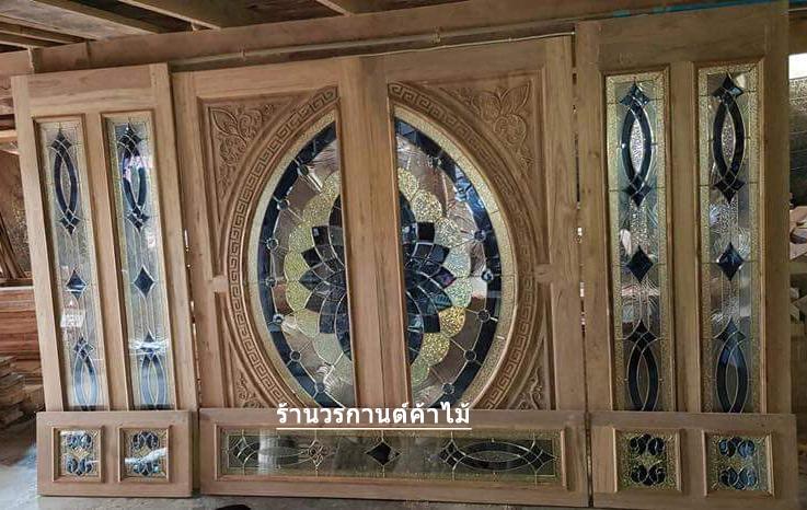 ประตูไม้สักกระจกนิรภัย ชุด7ชิ้น เกรดA รหัส NOT28