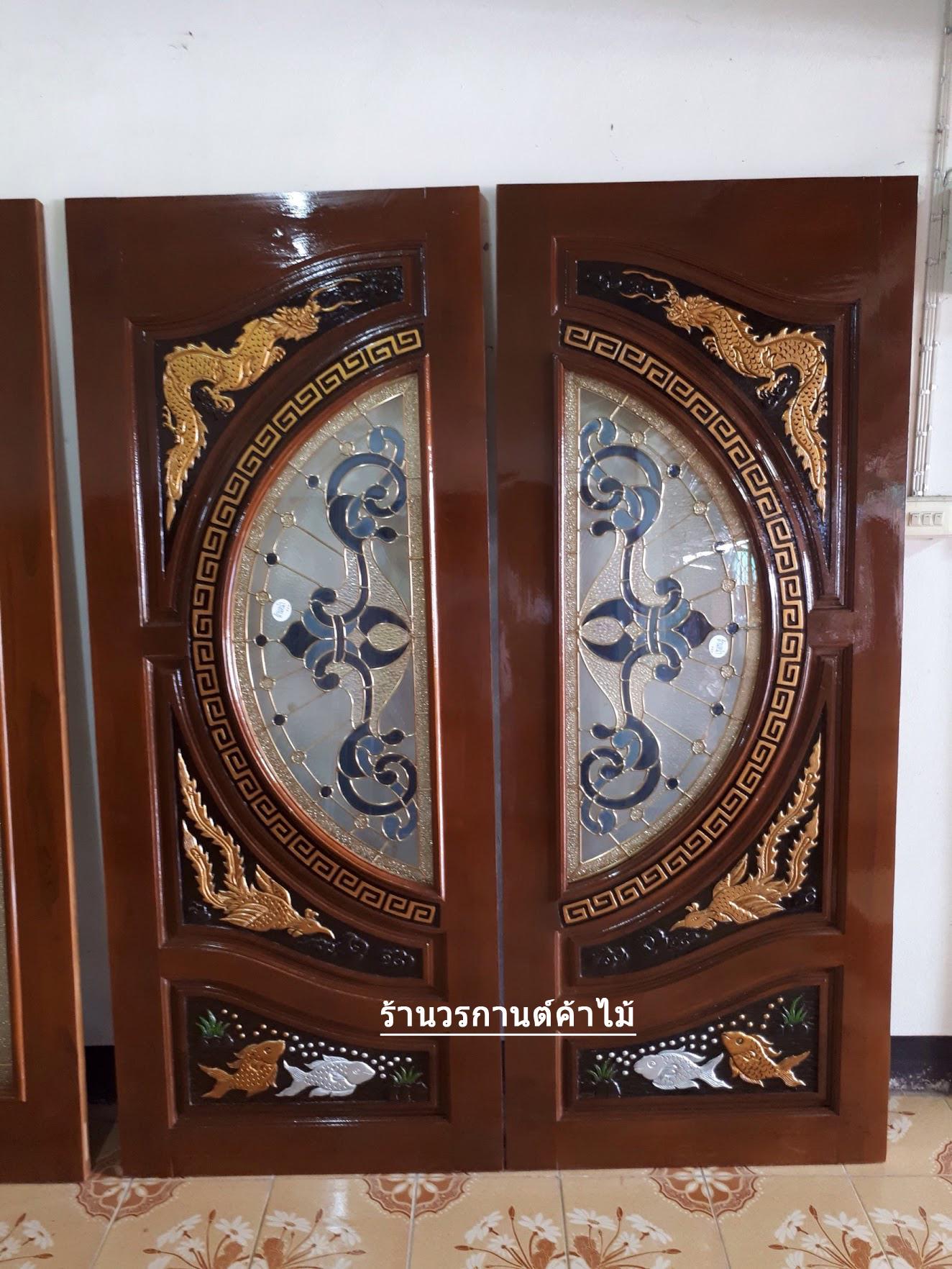 ประตูไม้สักกระจกนิรภัย แกะมังกรหงส์ปลาเงิน-ทอง เกรดA รหัส A77