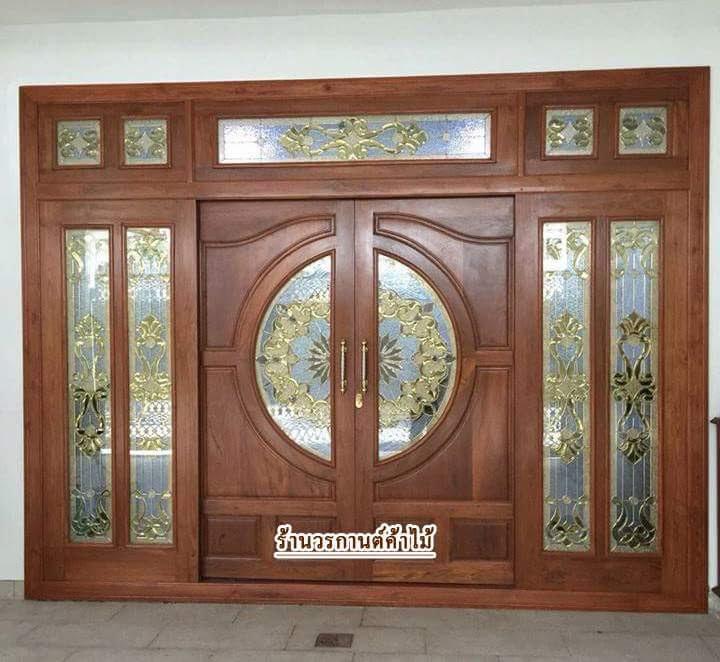 ประตูไม้สักกระจกนิรภัยบานเลื่อน ชุด7ชิ้น รหัสAAA05