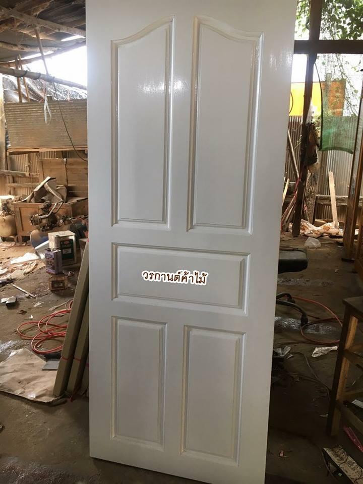 ประตูไม้สักบานเดี่ยว ปีกนกสีขาว เกรดA, B+ รหัส C48