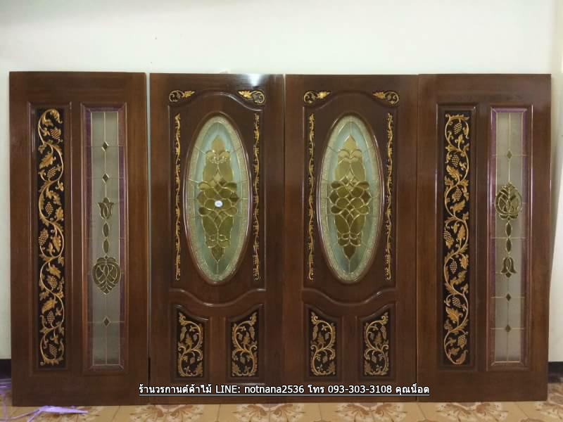 ประตูไม้สักกระจกนิรภัย บานเลื่อน ชุด4ชิ้น รหัส AAA120