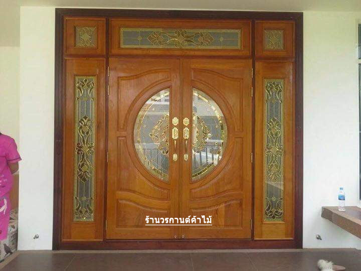 ประตูไม้สักกระจกนิรภัยบานเปิด-ปิด ชุด7ชิ้น รหัสAAA34