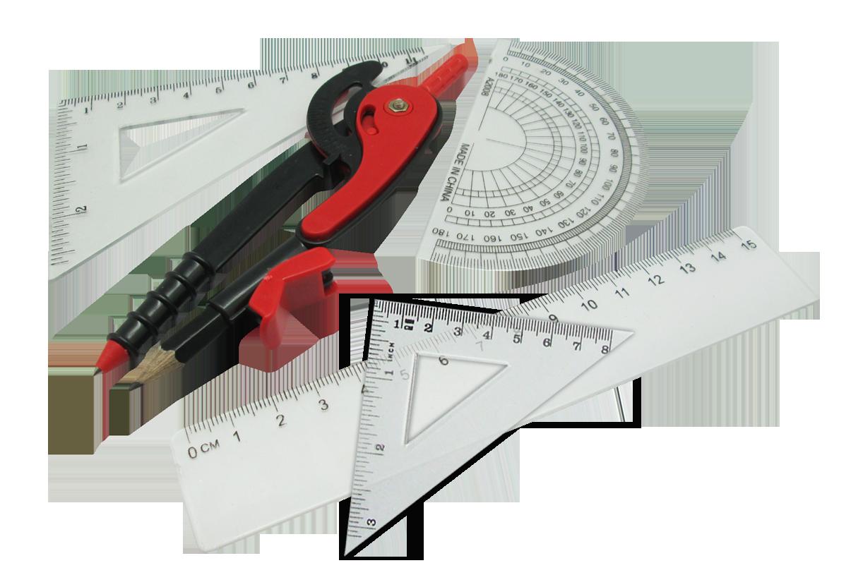 ชุดเลขาคณิต + วงเวียน 5ชิ้น / แพ็ค (Compass Set)