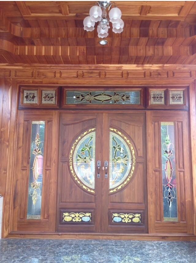 ประตูไม้สักบานคู่กระจกนิรภัย ชุด7ชิ้น รหัส AAA161