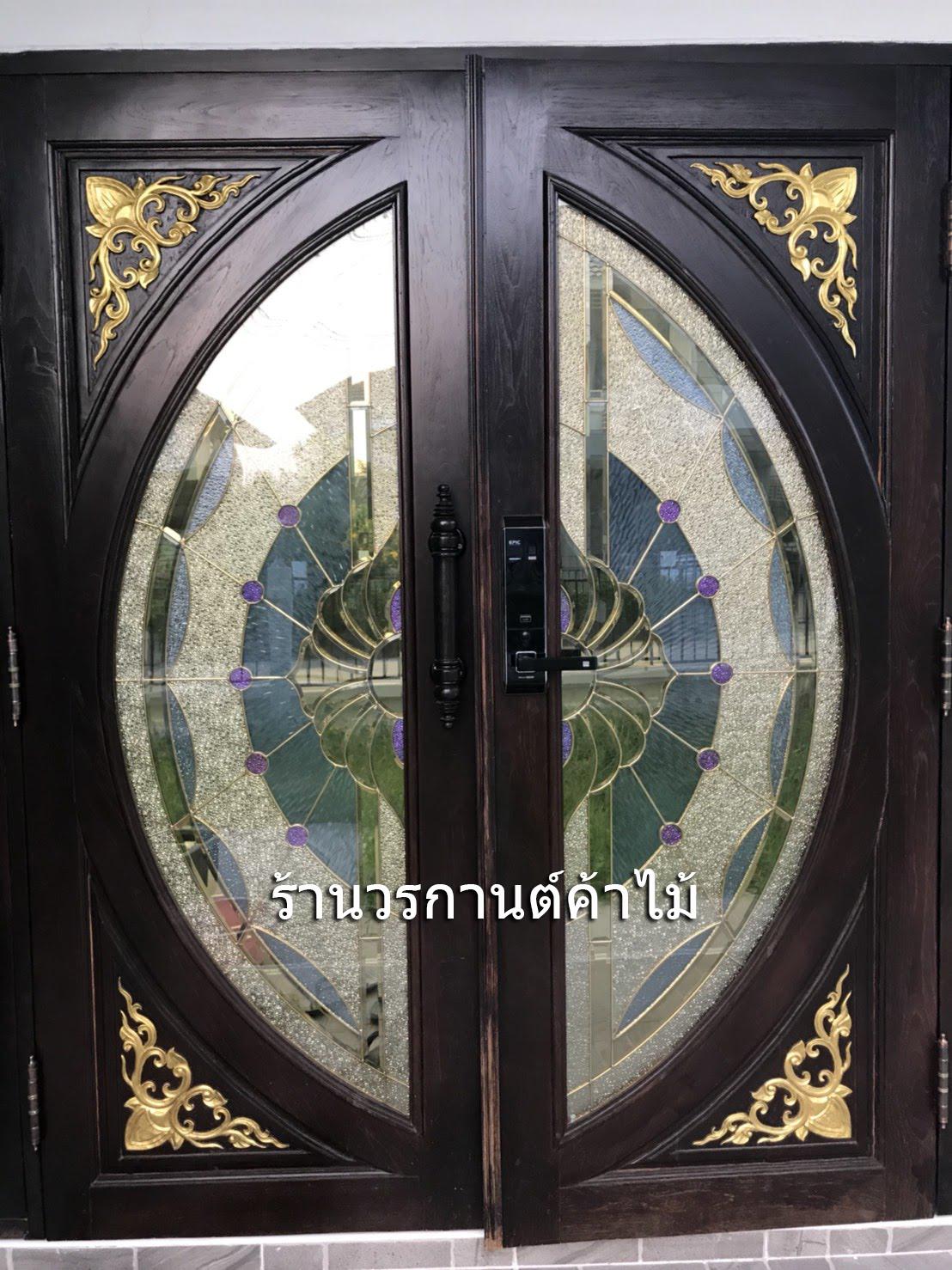 ประตูไม้สักกระจกนิรภัยแตงโมเต็มบาน สีโอ๊ค รหัส AAA126