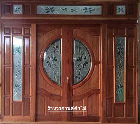 ประตูไม้สักกระจกนิรภัยบานเลื่อน ชุด7ชิ้น รหัส NOT02