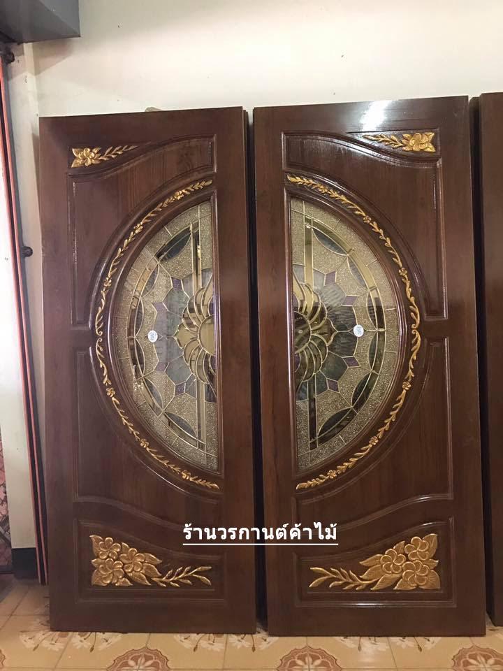 ประตูไม้สักกระจกนิรภัย แกะดอกไม้ เกรดA รหัส A142