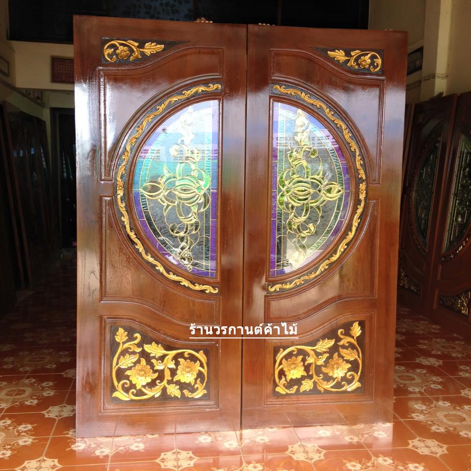 ประตูไม้สักกระจกนิรภัย เกรดA รหัส A135