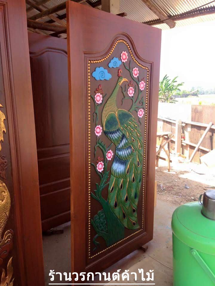ประตูไม้สักบานเดี่ยว แกะนกยุง เกรดA รหัส C13