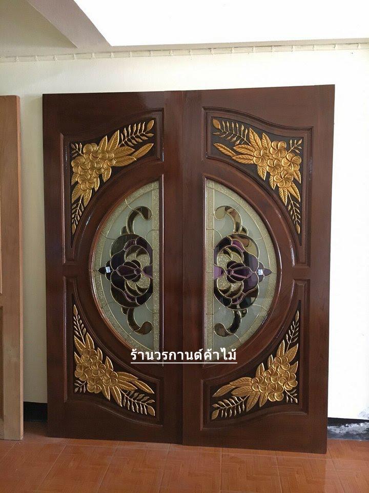 ประตูไม้สักกระจกนิรภัย แกะลีลาวดี เกรด A รหัส NNA21