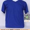 E.เสื้อยืด เสื้อt-shirt คอวี สีน้ำเงินสด ไซค์ขนาด 32 นิ้ว