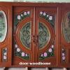 ประตูไม้สักกระจกนิรภัยบานเลื่อน เกรดA รหัส AA4