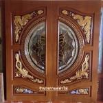 ประตูไม้สักกระจกนิรภัย แกะหงมังกร ปลาเงินปลาทอง เกรดA รหัสA13