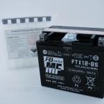 แบตเตอรี่มอเตอร์ไซค์ แบบแห้งแยกน้ำ ยี่ห้อ FB รุ่น FTX12-BS (12V 10AH) สำหรับรถรุ่น ER6N/NINJA650R/VERSYS650/VULCAN900/VESPA LX150/VESPA946/BONNEVILLE T100,T120/SCRAMBLER/SPEED MASTER/THRUXTON 900/SPEED TRIPLE R/HAYABUSA/INTRUDER/BOULEVARD