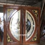 ประตูไม้สักกระจกนิรภัย แตงโมเต็มบาน เกรดA รหัส A09