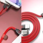 สายชาร์จ 2 in 1 Remax แท้ 100 % Micro USB & iPhone 5/6 สีแดง