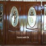 ประตูไม้สักกระจกนิรภัย วงรี ชุด4ชิ้น เกรดA รหัส AAA57