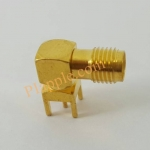 ขั่วนำสัญญาณ SMA RF Female Jack Right Angle 90'PCB Board Mount Coaxial Adapter Connector