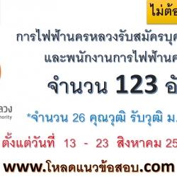 การไฟฟ้านครหลวง รับสมัครสอบบรรจุพนักงาน 123 อัตรา วันที่ 13 - 23 ส.ค.2561