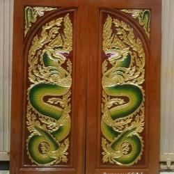 ประตูไม้สักบานคู่แกะพญานาค เกรดA รหัสBB103