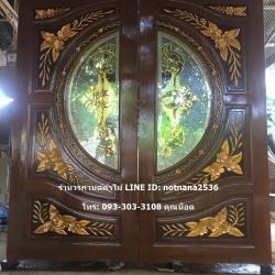 ประตูไม้สักกระจกนิรภัยแกะลีลาวดี รหัส AAA156