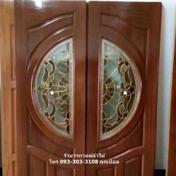 ประตูไม้สักกระจกนิรภัย เกรดA,B รหัส AAA166